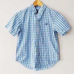 Chaps boys 10-12 blue plaid button down shirt